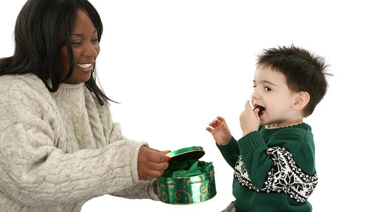 rewarding child with food