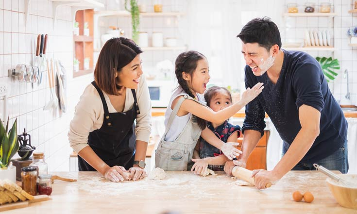 family baking together - children feeling important and confident