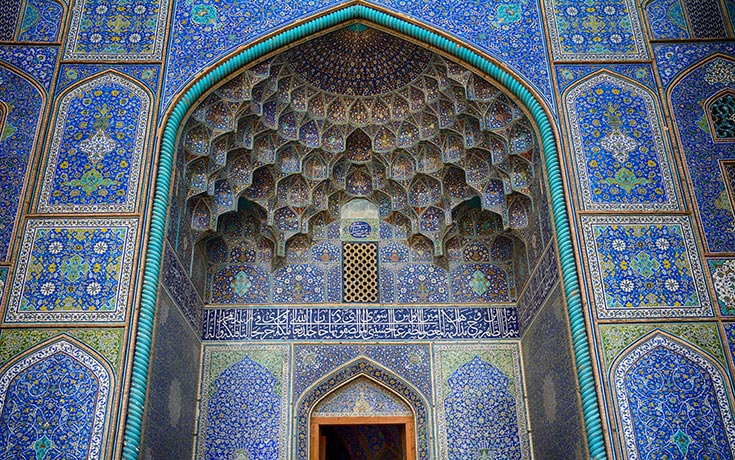 Tessellated and elaborately designed ceilings of Sheikh Lotfollah Mosque